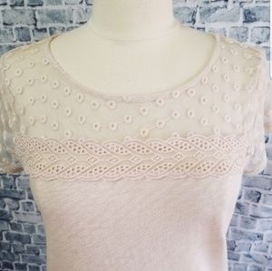 LC Lauren Conrad Cotton Lace & Crochet Detail Top